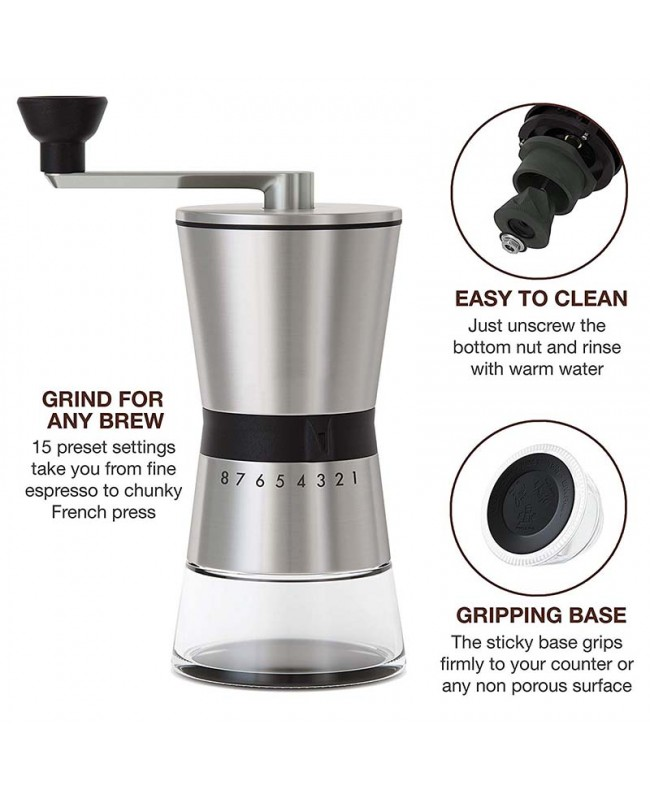 Coffeesmaster Manual Coffee Grinder – Conical Ceramic Burr – Portable Hand Crank Mill