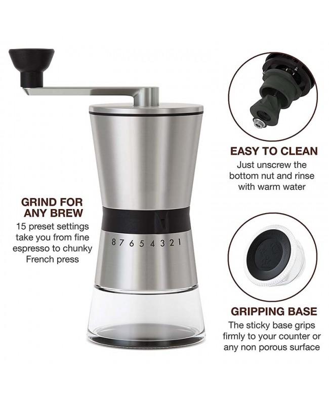 Coffeesmaster Manual Coffee Grinder – Conical Ceramic Burr – Portable Hand Crank Mill