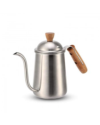 Coffeesmaster Pour Over Coffee Drip Kettle Gooseneck with Wood Handle for Home Brewing, Camping and Traveling(650ml,silver)