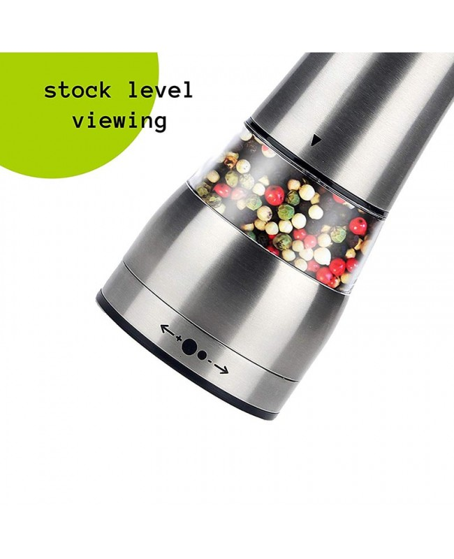 Electric Salt/ Pepper Grinder Set2 - Battery Operated Stainless Steel Mill with Light