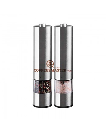 Electric Salt and Pepper Grinder Set - Battery Operated Stainless Steel Mill with Light (Pack2)