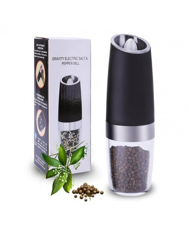 Gravity Electric Salt and Pepper Grinder - Automatic Battery Powered - Adjustable - Blue LED Light