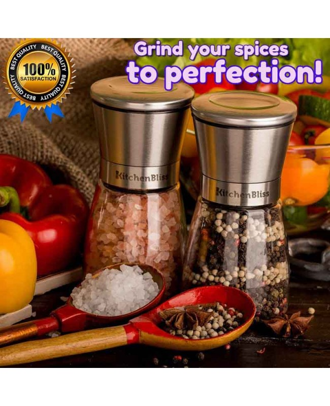 Glass&Steel Salt and Pepper Grinder 2pack