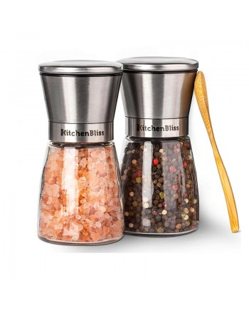 Glass&Steel Salt and Pepper Grinder 2pack