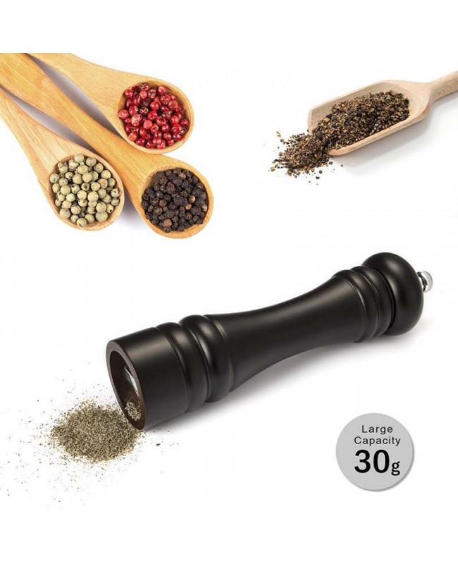 Wood Salt / Pepper Grinder - Pump & Grind Cooking Gadgets - Black 2Pack