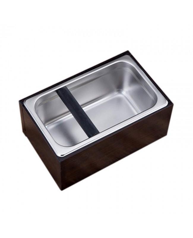 Coffeesmaster Wood Case Set Stainless Steel Coffee Knock Box - Espresso Waste Bin - L