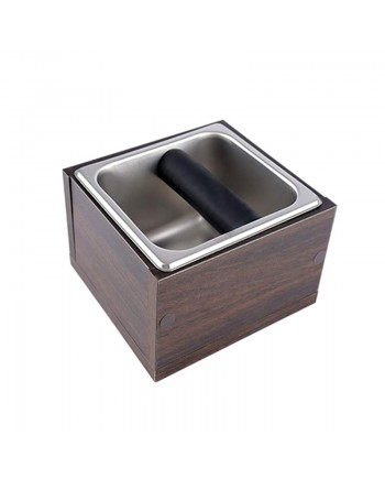Coffeesmaster Wood Case Set Stainless Steel Coffee Knock Box - Espresso Waste Bin - M