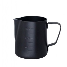 Coffeesmaster Teflon Milk Frothing Pitcher Jug - Black - with Measurements