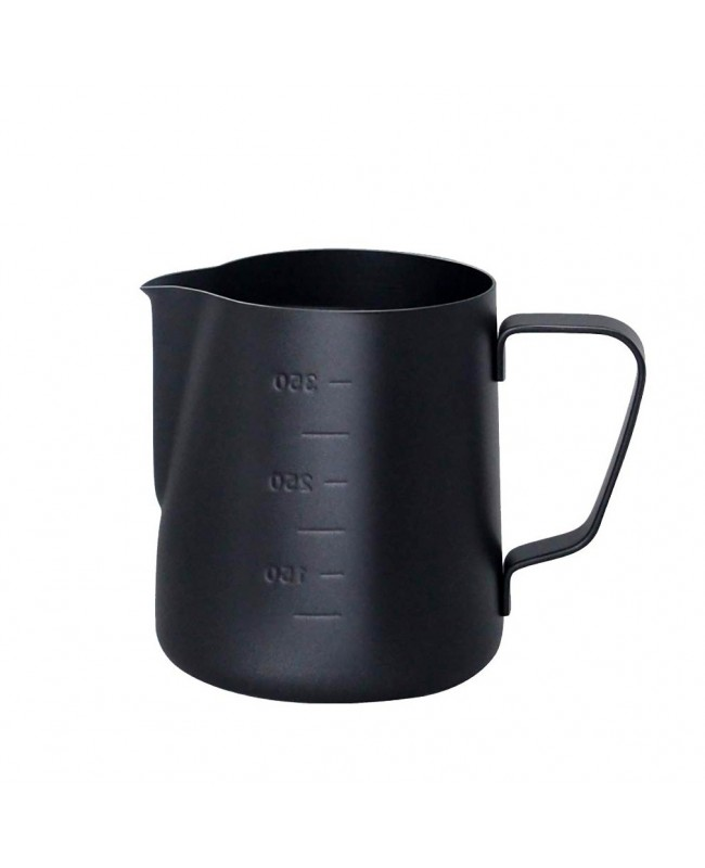 Coffeesmaster Teflon Milk Frothing Pitcher Jug - Black - with Measurements