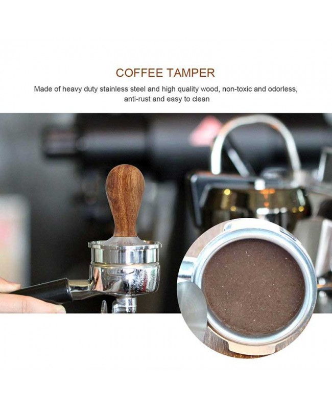 Coffeesmaster 58mm Espresso Tamper - Wooden Handle Coffee Tamper with Curved Base