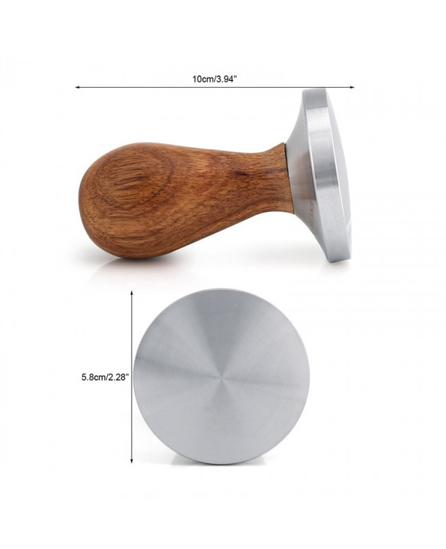 Coffeesmaste 58mm Espresso Tamper - Wooden Handle Coffee Tamper with Curved Base