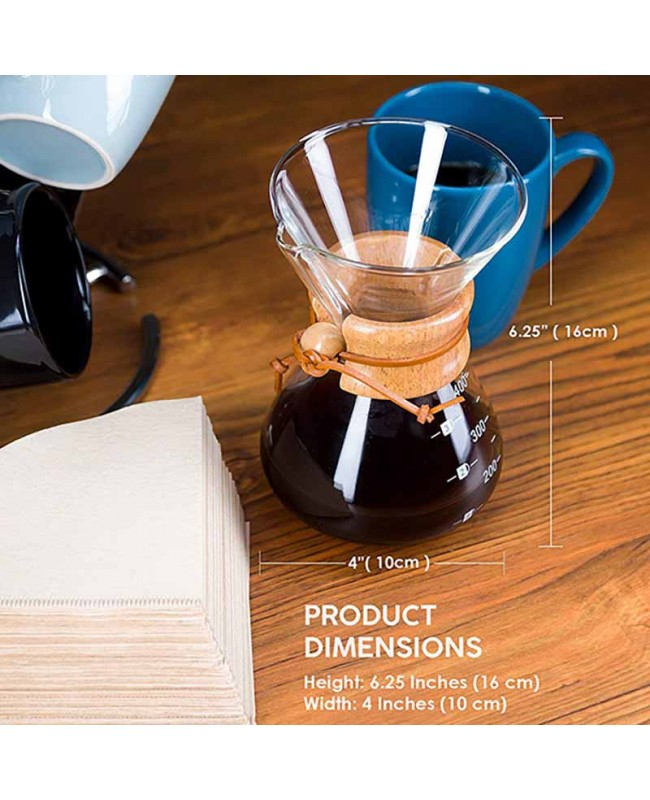 Coffeesmaster 13.5 Ounce 2 Cup Classic Pour-over Glass Coffeemaker - Non-porous Borosilicate Glass
