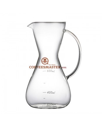 Coffeesmaster 20 Ounce Three Cup Pour over Non-porous Borosilicate Glass Coffeemaker -  with Handle