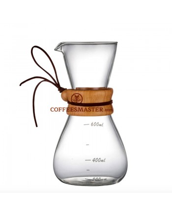 Coffeesmaster 20 Ounce Three Cup Pour over Glass Coffeemaker - Non-porous Borosilicate Glass