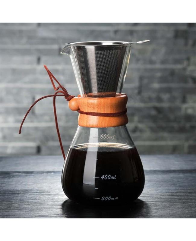 Coffeesmaster 20 Ounce Three Cup Pour over Glass Coffeemaker - Non-porous Borosilicate Glass