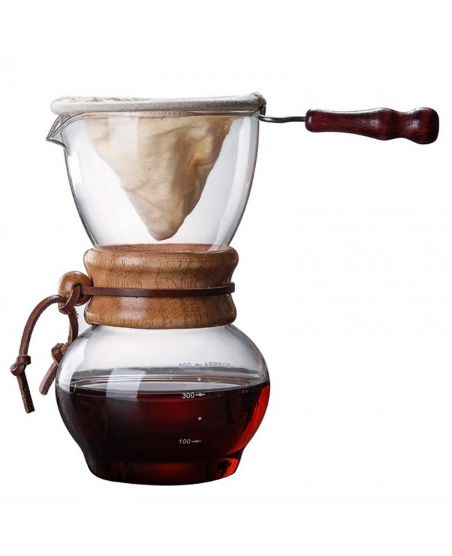 Coffeesmaster Woodneck Coffee Dripper 480ml - Pour Over Glass Coffeemaker
