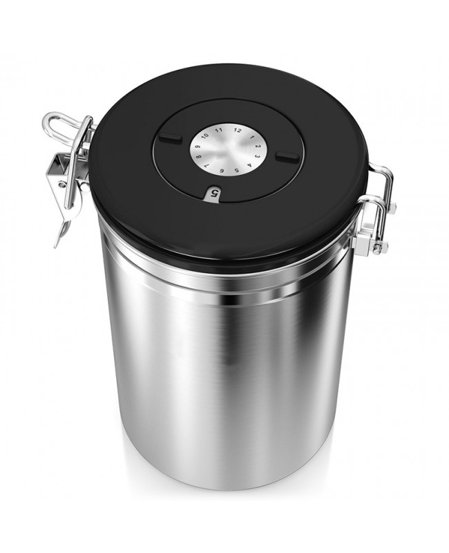 Coffee Bean Stainless Steel Container - Canister with co2 Valve, Scoop - Silver